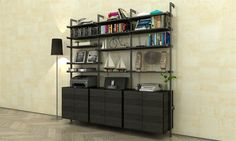 PAL series with black hardware. Wouldn't this look great in your office? Modern Shelving, Bookcase, Hardware, Shelves, Inspiration, Black, Home Decor, Biblical Inspiration, Shelving