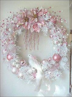 wreath white dove pink shabby Christmas wreath (not quite blue-green, but the concept would transfer to many color themes.)shabby Christmas wreath (not quite blue-green, but the concept would transfer to many color themes. Wreath Crafts, Diy Wreath, Holiday Crafts, White Wreath, Wreath Ideas, Tulle Crafts, Tulle Wreath, Thanksgiving Holiday, Ornament Wreath