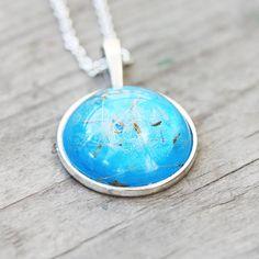 Blue dandelion pendant