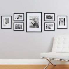 Turn an empty wall into a contemporary gallery space to showcase your most adorned moments with our 7 Piece Photo Frame Wall Gallery Kit. This kit includes seven sleek grey wood wall frames in varying sizes for an all-in-one design solution for any r Wall Frame Set, Frame Wall Collage, Picture Frame Sets, Picture Ledge, Wall Frame Layout, Picture Frames On Wall, Picture Mounts, White Picture, Bedroom Ideas
