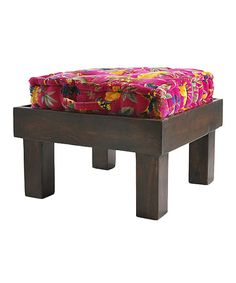 Love this Teak Stool & Pink Velvet Tropical Cushion on #zulily! #zulilyfinds