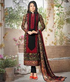 Buy Black Georgette Churidar Suit 75829 online at lowest price from huge…