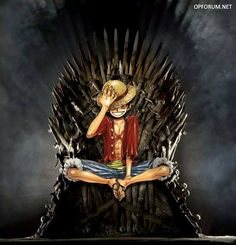 Luffy on the iron throne Ace One Piece, One Piece Games, One Piece Online, One Punch Man, I Love Anime, Anime Guys, Crossover, One Piece Merchandise, One Piece Wallpaper Iphone