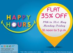 Good News #Banglore-ities: #HappyHours now only in our Bangalore store G-08, Ground Floor @Phoenix Market City. MON-FRI 12noon − 5pm from 19th-31st May only! Flat 35% off on mainline products. #Happy Shopping!! #GoSplurge #Save