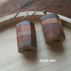 Boho Organic Upcycled Octagon Shaped Wood Dangle Earrings by bymichelemohr on Etsy
