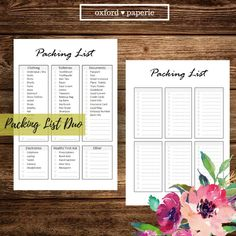 Travel Packing List, Packing List Printable, Vacation Planning, Holiday Organizer, US Letter, A4, A5, Family Vacation, Packing Checklist by oxfordpaperie on Etsy