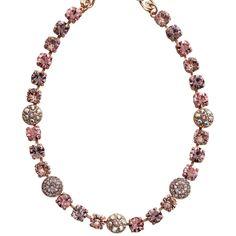 "Mariana Rose Gold Plated Flower Shapes Swarovski Crystal Necklace, 18"" Pink Petal. Available at www.regencies.com"