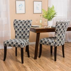 christopher knight home cecily fabric geometric print dining chair set of - Wayfair Dining Chairs