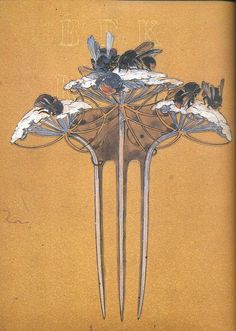 """Lalique, Drawing for Drones and Umbels comb, 1900s on Flickr. """"Lalique, Museum Calouste Gulbenkian""""."""