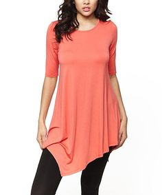 Loving this Coral Asymmetrical-Hem Tunic on #zulily! #zulilyfinds