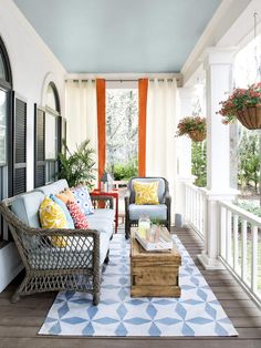 Porch Design and Decorating Ideas : Outdoors : Home & Garden Television. Outdoor living space Love the vintage trunk. This is a good idea for my front porch, especially the rug and pretty colors. Decor, House Design, Home, House Exterior, Living Spaces, Porch Design, Porch Life, Outdoor Living Space, Porch