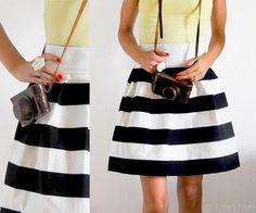DIY Clothes DIY Refashion  DIY Racing Stripes Skirt