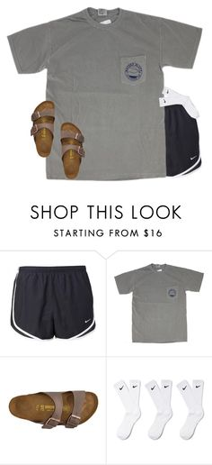 """who else wears Nike socks with their birks?"" by lydia-hh ❤ liked on Polyvore featuring NIKE and Birkenstock"