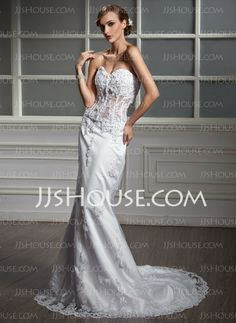Wedding Dresses - $172.99 - Mermaid Sweetheart Court Train Satin Tulle Wedding Dress With Lace Beadwork (002011377) http://jjshouse.com/Mermaid-Sweetheart-Court-Train-Satin-Tulle-Wedding-Dress-With-Lace-Beadwork-002011377-g11377