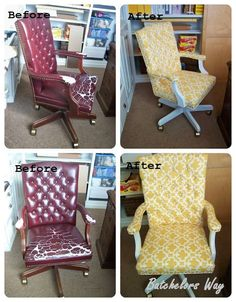 •❈• Bachelors Way: Office Redo - How to Reupholster a Chair that I bought for $5  Great tutorial