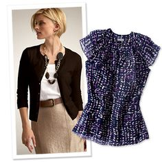 "Ann Taylor ""Choose classic shapes like a pencil skirt and a cardigan or blazer, and add interest to the look with a leather belt, statement necklace or printed blouse."""