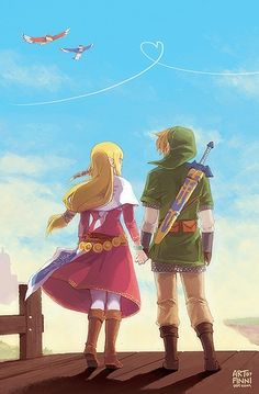 Zelda & Link; I know they're from a video game, but they're always together!