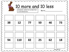 10 more/10 less Easter Common Core Math Practice