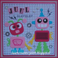 Marianne Design: PB7050 Eline's baby pink CR1324 Bouten moeren tandwielen COL1403 Robot COL1396 Stempel Alfabet Marianne Design Cards, Robot Illustration, Punch Art, Applique Quilts, Card Tags, Kids Cards, Fathers Day, Cardmaking, Boy Or Girl