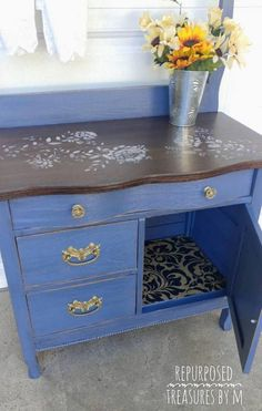 Antique washstand, blue washstand, dresser, shabby chic dresser, washstand dresser, painted furniture, handpainted washstand, sstenciled Painted with a mix of blues chalk paint and sealed with 3 coats of poly that sealed it completely for protection. Top is stained with general finishes and sealed completely for protection! This is old and still in amazing condition! Knobs original and beautiful! Drawers work great and are lined tightly. I stenciled in a beautiful floral pattern! Pics do…
