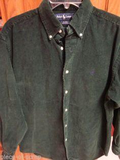 RALPH LAUREN POLO Mens Corduroy Shirt MEDIUM M BLAIRE Long Sleeve GREEN Thick #ralphlauren