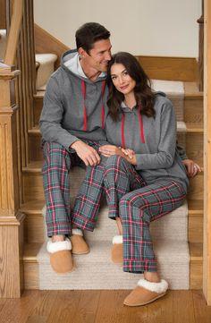 Gray Plaid Hooded His & Hers Matching Pajamas Matching Christmas Pajamas Couples, Matching Couple Pajamas, Matching Pajamas, Cute Pajamas, Matching Outfits, Satin Pyjama Set, Pajama Set, Mens Flannel Pajamas, Pajamas For Teens