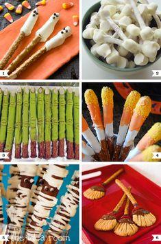 Cute and easy Halloween pretzel rod recipes   http://www.chickabug.com/blog/2012/09/cute-and-easy-halloween-pretzel-recipes.html