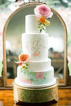 Hand painted floral wedding with sugar flowers cake created by Intricate Icings Cake Design
