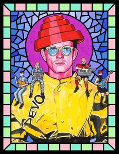 Saint Mark Mothersbaugh (Devo) w/other band members from different music videos on shoulder, by Matthew Lineham