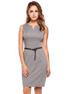 Gray Notch Neck Sleeveless Belted Bodycon Work Dress