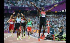 One of my favourite Olympic moments.  An elegant and proud man!  Record breaker: Kenya's gold medalist David Lekuta Rudisha wins the men's 800 final in a new world record of 1min 40.91sec