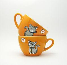 Cat cup  Personalised Decor  Custom   Cats in love  by vitaminaeu, €20.00