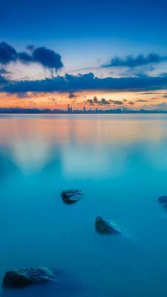 Blue Lake Sunset #iPhone #7 #wallpaper