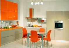 #modern kitchens and #decor in orange color