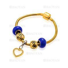pulsera de abalorios azules oscuros con corazon en acero para mujer-SSBTG624797