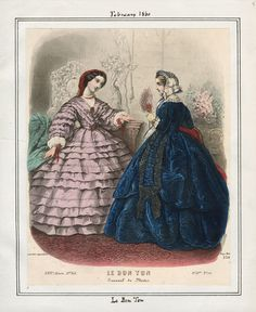 Casey Fashion Plates Detail | Los Angeles Public Library Le Bon Ton Date:  Wednesday, February 1, 1860