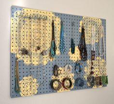 Painted Jewelry Organizer Wall Display,  Jewelry Holder, Custom, Hand Painted, Grey, Yellow via Etsy