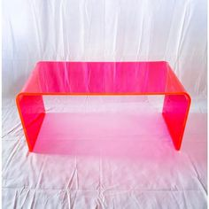 This gorgeous specimen is one in our new line of Memphis Group inspired Neon acrylic tables. Our acrylic coffee table is carefully crafted given it. Hot Pink Decor, Pink Home Decor, Neon Aesthetic, Aesthetic Room Decor, My Living Room, My Room, Hot Pink Bedrooms, Pink Dorm Rooms, Hot Pink Room
