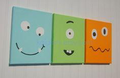 MONSTER BUDDIES Kids Nursery Wall Art Room Decor - Set of 3 - Ready to Ship - Funny Face