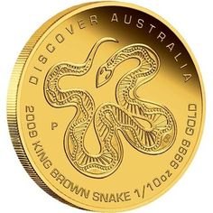 "Australia - Discover Australia 2009 Dreaming†""King Brown Snake"" 1/10 oz gold coin."