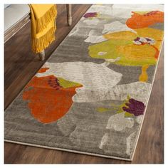 Safavieh Porcello Contemporary Floral Dark Grey/ Ivory Rug - x Runner x Runner - Dark Grey/Ivory) (Polypropylene, Geometric) Carpet Runner, Rug Runner, Casual Bedroom, Where To Buy Carpet, Saag, Floral Area Rugs, Room Carpet, Round Rugs, Online Home Decor Stores