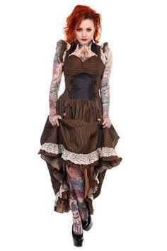 Banned Long Black Brown Stripe Steampunk Vintage Victorian Corset Dress