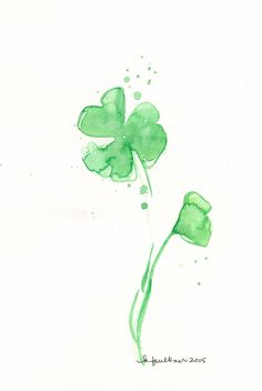 "Watercolor Painting: Watercolor Flowers ""Shamrock Splash"" by karenfaulknerart on Etsy"