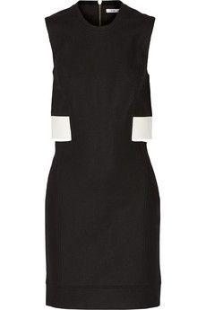 Helmut Lang Cutout leather-trimmed stretch-gabardine dress | NET-A-PORTER