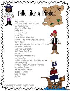 Did you know that this Saturday is Talk Like a Pirate Day? Well… it is! Have fun with your kids this week and print out this fun Talk Like a Pirate Sheet. I'm going to have my kids d… Preschool Pirate Theme, Pirate Activities, Activities For Kids, Pirate Games For Kids, Pirates For Kids, Pirate Treasure Hunt For Kids, Indoor Activities, Pirate Talk, Teach Like A Pirate
