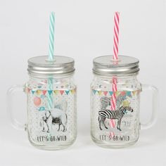 Animal Mason Drinking Jars with Straw - Gifts for Animal Lovers Safari Party, Vases, Glitter Water Bottles, Pots, Drinking Jars, Animal Party, Party Animals, Kitchenware, Tableware