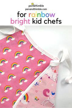 Rainbow Apron Unicorn Kids Apron Personalized Toddler Apron | Etsy #kidchef #cookingwithkids #bakingwithkids #rainbowkids #kidsapron