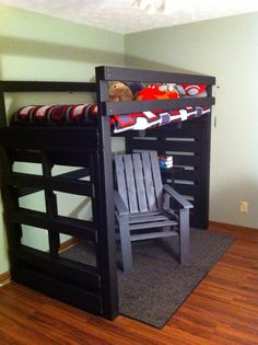 pallet loft bed | Loft bed and chair made from pallets.