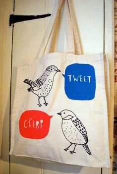 bird canvas tote bag. $25.00, via Etsy.