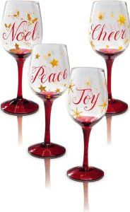 Christmas Slippers Wine Glasses - 4 Assorted by Evergreen Enterprises, Inc. $15.45. Great as a gift or for yourself. Drink wine in style. Made for someone as fun as they are, these wine glasses are ready for a good time. Hand-painted designs decorate each one in bright colors, the perfect complement to whatever wine or cocktail you pour inside. These glasses are ideal for a night with friends or adding a playful touch to the everyday.. Save 26%!
